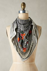 Anthropologie Beaded Florals Scarf Black