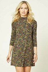 Forever 21 Contemporary Paisley Dress Green Mustard