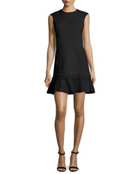 Giambattista Valli Lace Trim Cady Drop Waist Dress Black
