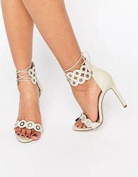 Asos Hammersmith Lace Up Heeled Sandals Off White
