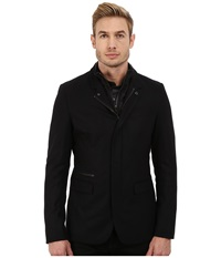Michael Kors Flannel Bib Blazer Black Men's Jacket