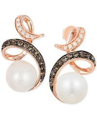 Le Vian Freshwater Pearl 8Mm And Diamond 1 3 Ct. T.W. Drop Earrings In 14K Rose Gold White