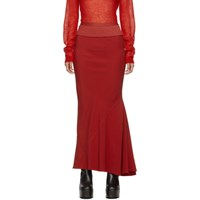 Rick Owens Red Long Cady Skirt