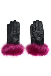 Surell Faux Fur Trimmed Leather Gloves Magenta