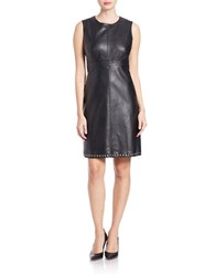 Karl Lagerfeld Paris Fitted Faux Leather Dress Black