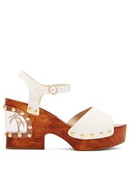 Sophia Webster Paradise Palm Tree Leather Clogs White
