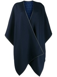 Salvatore Ferragamo Double Face Gancini Cape Blue