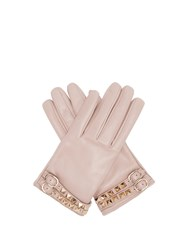 Valentino Rockstud Leather Gloves Grey