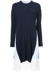 Sacai Pleated Knitted Dress Cotton Polyester Wool Blue