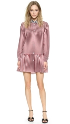 Red Valentino Striped Shirt Dress Ruby