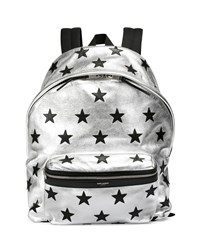Metallic Buffalo Leather Backpack With Stars Silver Saint Laurent