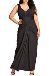 City Chic Plus Size Women's Ruched Gown Black