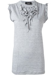 Dsquared2 Ruffled Neck Blouse Grey