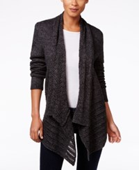 Karen Scott Pointelle Knit Open Front Cardigan Only At Macy's Black Ash