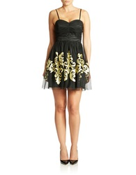 Hailey Logan Gold Embroidered Cocktail Dress Black Gold