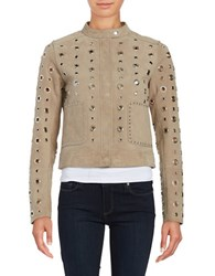 Dawn Levy Stacy Grommet Suede Jacket Steel