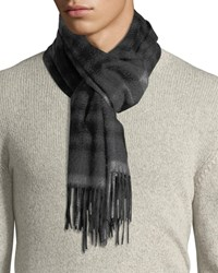 Neiman Marcus Exploded Plaid Cashmere Scarf Gray Pattern