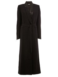 Ann Demeulemeester Shawl Lapel Belted Coat Black