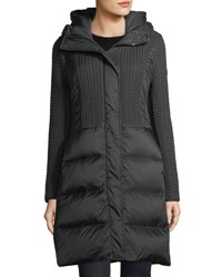 Post Card Hazel Quilted Puffer Coat W Cable Knit Black