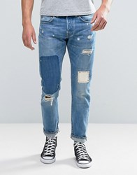 Edwin Ed 55 Regular Tapered Jean Pulled Wash Rainbow Selvedge Rip And Repair Pulled Wash Blue