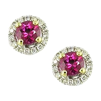 Ewa 18Ct White Gold Diamond Ruby Claw Set Cluster Earrings Ruby