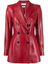 Alexander Mcqueen Square Shoulder Double Breasted Jacket Red