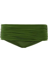 Norma Kamali Bill Low Rise Ruched Bikini Briefs Green
