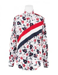 Thom Browne Floral Shirt With Signature Stripes Whi Navy Red