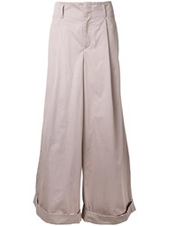 Katharine Hamnett Turn Up Hem Palazzo Pants Beige