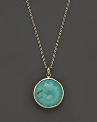 Ippolita 18K Gold Rock Candy Lollipop Pendant Necklace In Rutilated Quartz And Turquoise Doublet 16 Yellow Gold Multi