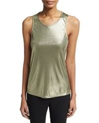 Halston Round Neck Metallic Jersey Twist Back Tank Green
