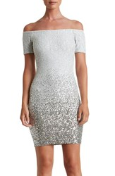 Dress The Population Women's Sequin Minidress White Silver Ombre