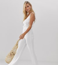 Micha Lounge High Waist Flare Trousers In Rib Knit Co White
