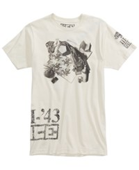 New World Men's Reptile Still Life Graphic Print T Shirt Cream