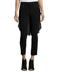 Haute Hippie Skinny Cropped Pants W Tail Black Black Black