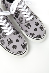 Forever 21 Animal Print Canvas Sneakers Black Grey