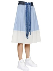 Sansovino 6 Cotton Denim And Poplin Midi Skirt