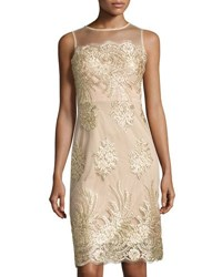 Donna Ricco Lace Embroidered Mesh Overlay Dress Gold