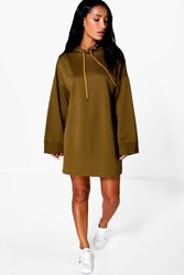 Boohoo Wide Sleeve Relaxed Fit Sweat Dress Khaki