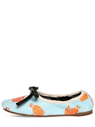 Lanvin 10Mm Printed Leather Ballerina Flats Light Blue