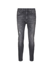 R 13 'Drop' Slim Fit Distressed Jeans Grey