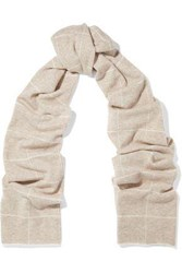 Madeleine Thompson Checked Wool And Cashmere Blend Scarf Cream