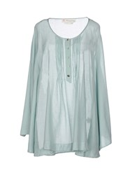 Manila Grace Denim Shirts Blouses Women Light Green