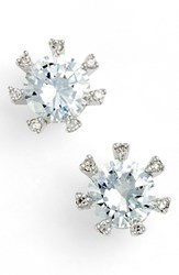 Women's Cz By Kenneth Jay Lane Embellished Prong Cubic Zirconia Stud Earrings Silver