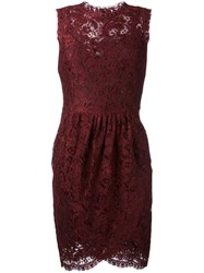 Dolce And Gabbana Lace Wrap Dress Red