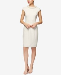 Betsey Johnson Imitation Pearl Collar Sheath Dress White
