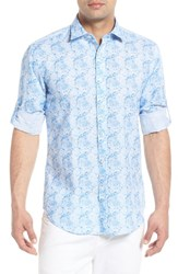 Bugatchi Shaped Fit Rose Print Linen Blend Sport Shirt Sky
