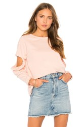 Central Park West Clover Cut Out Ruffle Sweatshirt Blush