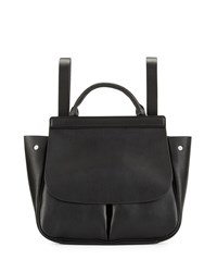 Neiman Marcus Faux Leather Fold Over Backpack Black Snake
