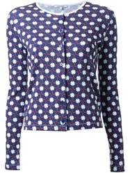 Carven Flower Print Cardigan Blue